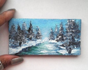 """Oil Painting Snow Landscape Trees River 2"""" x 4"""" READY to SHIP"""
