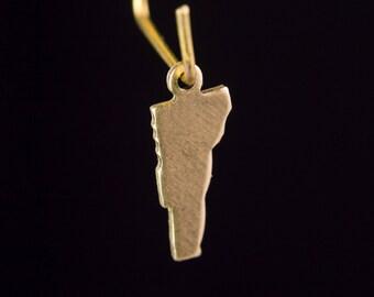 Raw Brass Tiny Vermont Blank State Charm Drops 15x6mm (6) chr228VV