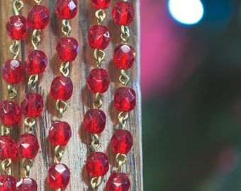 Red Faceted Czech Glass 6mm Bead Chain Raw Brass Links chn140