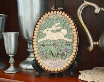 "A paper (mailed) Easter-tide, ""Bunny Rabbit Weather-vane"" Punch Needle Pattern #170226"