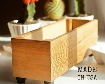 Wooden Herb Planter, Modern Indoor Planter, Wood Herb Planter For Kitchen, Indoor Gardening, Custom Sizes Available