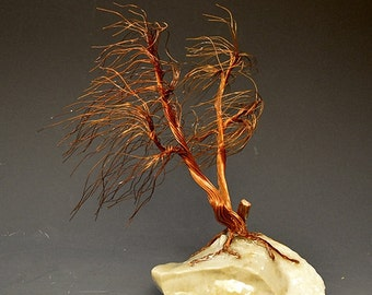 Windswept  Copper wire tree sculpture -  2251  - FREE SHIPPING
