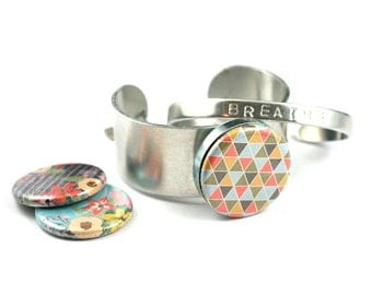 Wide Cuff Bracelet, Gift for Her | BONUS Bangle Stamped with word BREATHE | Magnetic, 3 Interchangeable Lids, Floral, Geometric, Polarity