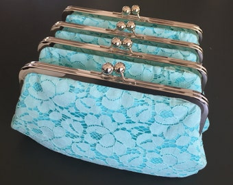 Tiffany Blue Cotton Lace Clutch