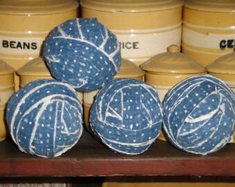 Old Quilt Rag Balls | Vintage Quilt Rag Balls | Antique Quilt Rag Balls | Primitive Rag Balls | Rag Balls Set Of 4