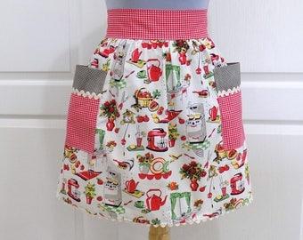 Womens Retro Half Apron Vintage Chic Kitchen Waist Aprons with Pockets