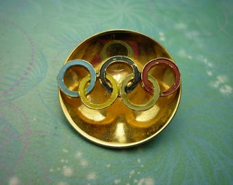 Vintage Olympic Gold Tone Brooch - Vintage Brooch