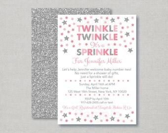 Twinkle Twinkle Little Star Baby Sprinkle Invitation / Twinkle Star Baby Sprinkle Invite / Silver Glitter / Pink & Silver / PRINTABLE A150