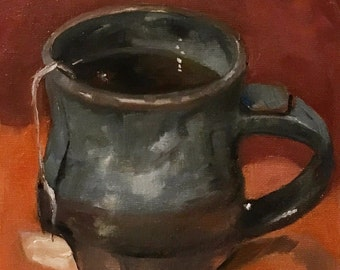 """Oil Painting 6x6""""  Hot Tea Food Art Kitchen Art Cafe Foodie  Oil on Canvas"""