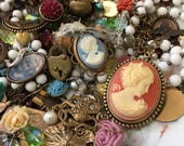 Lot A - Studio Destash -One Pound Jewelry Supplies Lot - Cameos Antiqued Brass Charms Beads Vintage and New