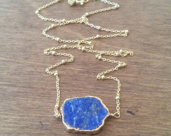 Lapis Stone Necklace Choker Style Gold Vermeil Chain