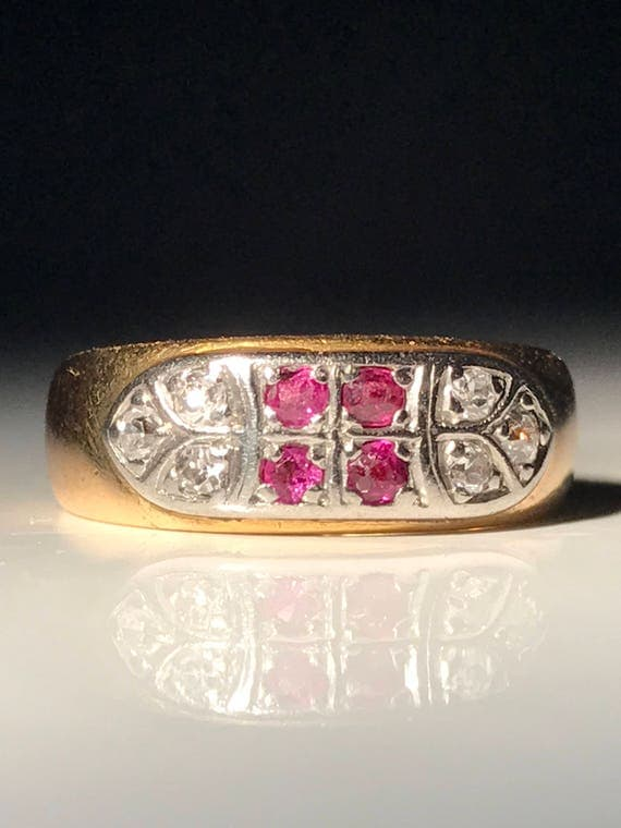 22 K Gold and Platinum Antique Ruby Diamond Ring (Size 5)