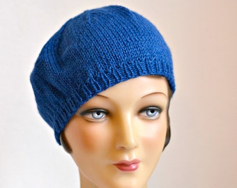 Knit Beret in Blue Alpaca Wool - Women's Beret Hat - READY TO SHIP via 3 Day Priority