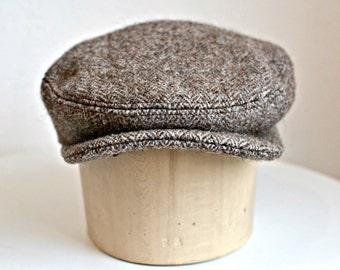 Men's Driving Cap in Felted Vintage Harris Tweed - Herringbone Tweed Cap - Men's Flat Cap