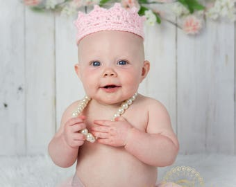 Baby Crown, Crocheted Baby Crown, Photography Prop, You pick size and color, Ready to Ship