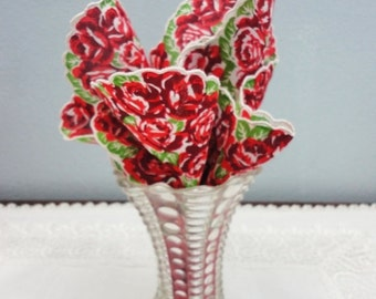 Holiday Sale Vintage Tall Ribbed and Polka Dotted Glass Vase