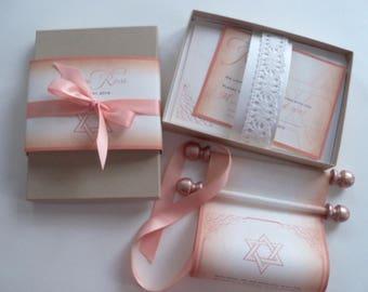 Rose gold Bat Mitzvah boxed scroll invitation suite with star of David, elegant invitations, rose gold invites with lace, set of 50 suites