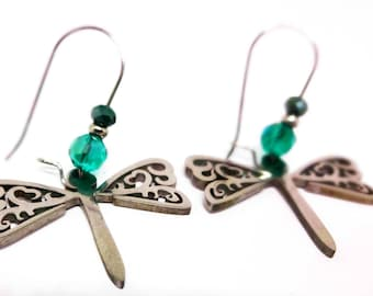 316L Stainless Dragonfly Earrings- Stainless Ear Wires, Remove or Add Crystals, Nature Lovers Gift, Sybolism Jewelry, Transformation & Light