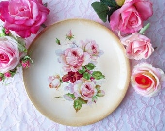 Vintage Platter Plate Pink Rose - Weddings Tea Parties