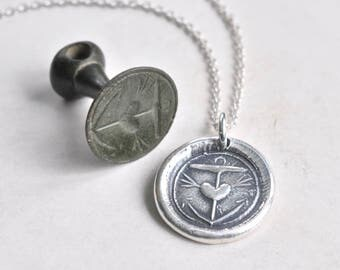 anchor and heart wax seal necklace pendant ... hope in you - 18th century revolutionary war era silver wax seal jewelry