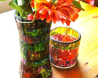 Vase. Mosaic Vase. Mosaic Recycled Vase. Recycled Glass. Up Cycled. Mosaic. Painted w/alcohol inks. Cylindrical vase with pinched waist.