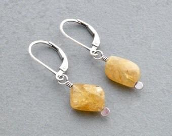 Yellow Beryl Earrings, Sterling Silver Heliodor Earrings, Golden Yellow Dangle Earrings with Lever Back Ear Wires, Simple Earrings,  #4742