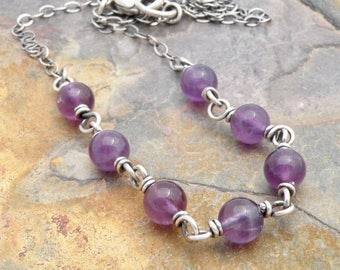 Amethyst Birthstone Necklace for Women with Sterling Silver, Purple February Birthstone, Amethyst Jewelry, Purple Gemstones, #4749