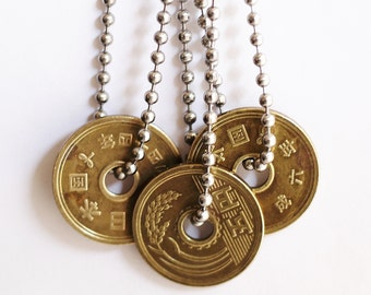 Japanese 5 Yen Lucky Coin Necklace Stainless Steel Chain Authentic Undrilled Upcycled Pendant Jewelry by Hendywood