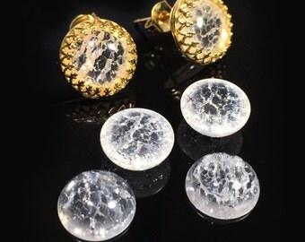 6pcs x Round Flat Back Cabochon Ice Clear Crystal Quartz Gemstones, Choose Your Size (ICRDCBV)