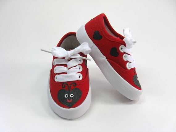 Ladybug Shoes with Hearts, Hand Painted Red Canvas Sneakers for Babies and Toddlers