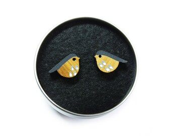 Bird Earrings, Bird Studs, Wooden Earrings, Wooden Jewellery, Bird Gifts For Her, Grey Birds, Quirky Earrings, Nature Earrings, UK Birds