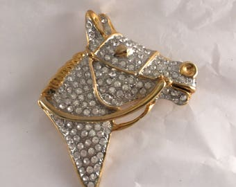 Stunning vintage pave horsehead equine derby horse racing bling equestrian pin brooch