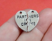 "2 sets (4 charms) ""PARTNERS IN CRIME"" Heart Puzzle Charms 19x18x1mm, Hole: Approx. 2mm"