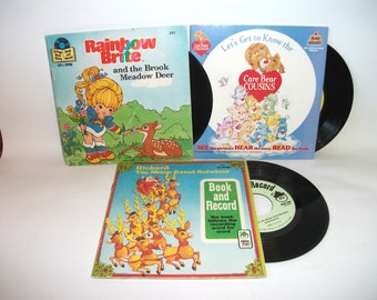 Vintage Children's Book and Record Rainbow Brite, Care Bears, Richard the Sharp Eared Reindeer