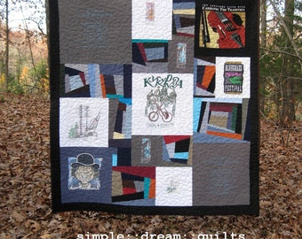 band t-shirts quilt, sports team memory quilt, football, soccer, basketball, cross country runner - - memory quilt .....Made to order