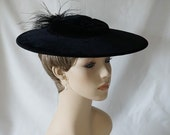 Vintage 1950s Hat Black Velvet Platter Style with Feathers