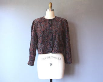 vintage cropped paisley jacket / corduroy paisley button down jacket / puff sleeve jacket