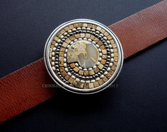 Crooked Moon Studio's OOAK Spiral Mosaic Belt Buckle and Leather Strap