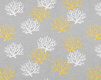 """ON SALE NOW Sample Sale Runner 22- 25"""" white and yellow Coral Branches on taupe-grey Table Runner Beach Nautical Wedding Home Decor repost"""