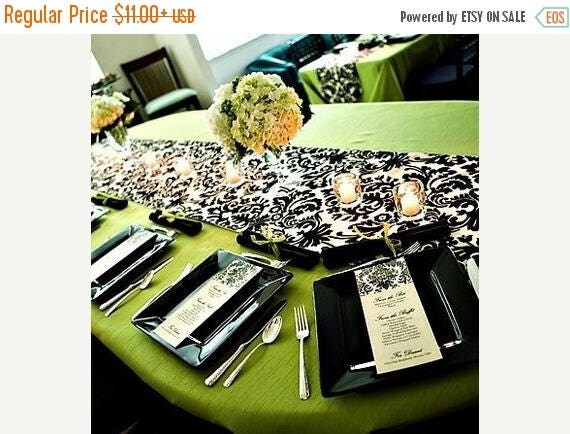 "ON SALE BLACK Ivory Damask Linens,  Table Runner, 13"" wide, or Placemat,  13x17"",  black ivory,  WavEss, overlays"