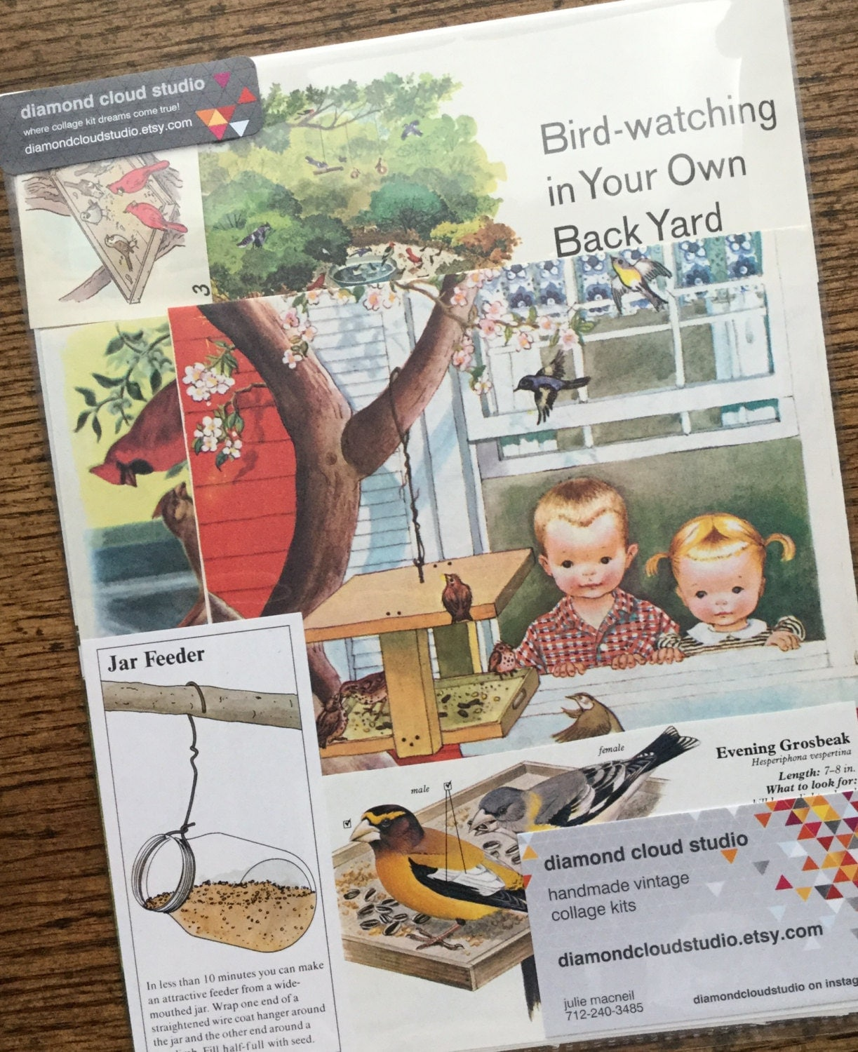 feeding birds in the backyard vintage nature collage scrapbook