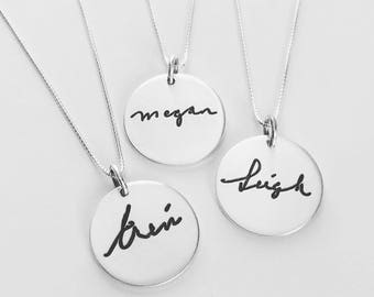 Handwriting Necklace 3/4 inch, Handwriting Jewelry, Name Necklace, Childs Handwriting pendant, personalized gift, Mothers Day Gift for Mom