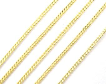 Gold plated Sterling Silver Chain, Gold Vermeil Fine Chain, Flat Curb Chain,Bulk Chain-Tiny Curb Chain-1mm- 30 feet- 5% off- SKU:101001-VM