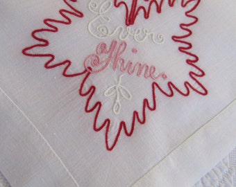 "Vintage ""EVER THINE"" Victorian Inspired Valentine's Day Linen Handkerchief Soutache Trim Love Romance Sweetheart Red Pink White Leaf"