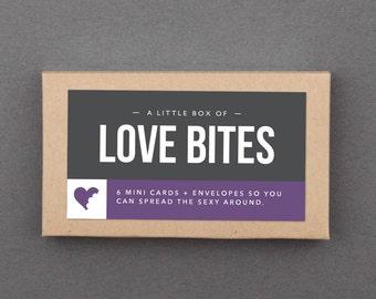 "Funny Valentine Cards. Mini Box Set of 6. For Him, Her, Husband, Wife, Boyfriend, Girlfriend. Anniversary, Love. Sexy. ""Love Bites"" (L6001)"