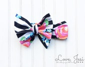 Bright Striped Bow, Big Bow Headband, Baby Girl Headwrap, Big Bow Head Wrap, Bows for Babies, Toddler Girl Hair Accessories, Little Girls