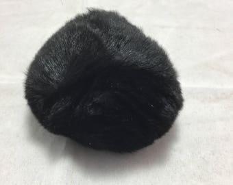 Pompon Lapin - 7cm Rabbit Fur Pom Pom - BLACK