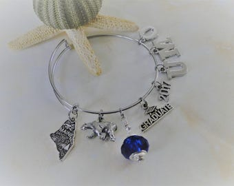 University of Maine at Orono - Black Bears -  Expandable Bangle Charm Bracelet FREE SHIPPING