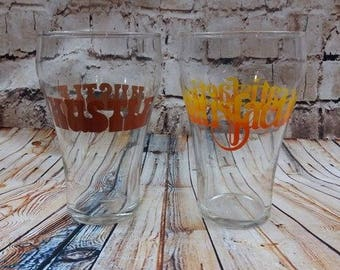 VTG 70s Drinking Glasses HUSTLE and SATISFACTION Large 30 ounce