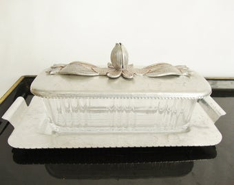 vintage butter dish rodney kent hammered aluminum and glass with lid and tray